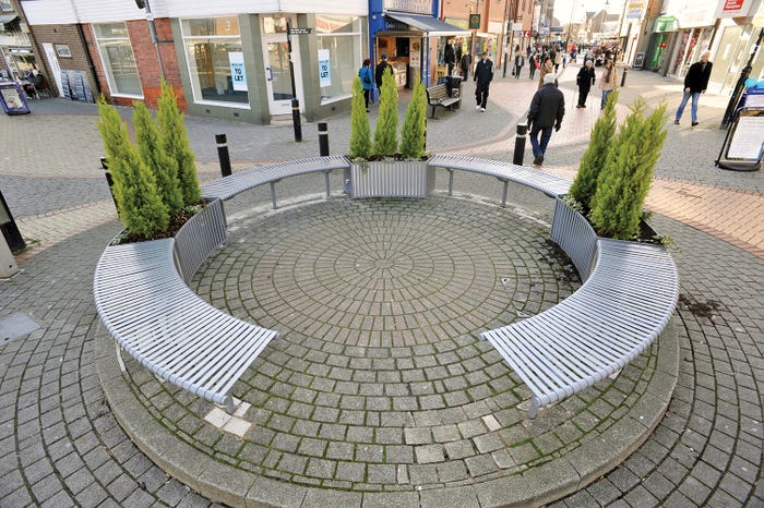 Weyburn Curved Bench with Planters