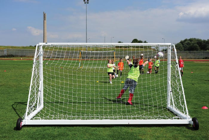 Self Weighted Rollaway Mini Soccer Goals Package - 12' x 6'