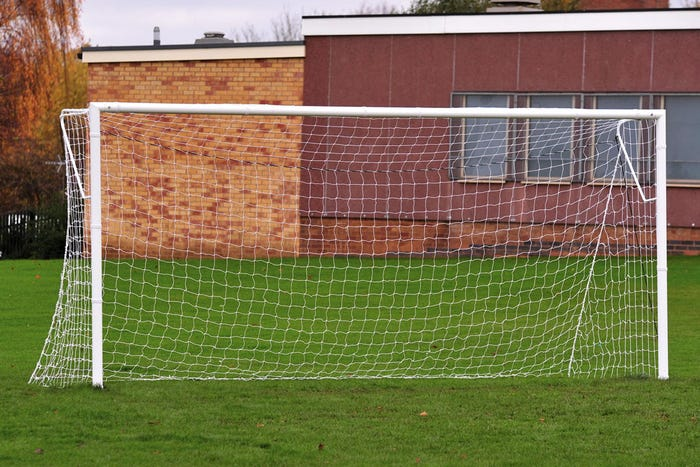 Locking Heavyweight Socketed Steel Football Goal Posts - 12' x 6'