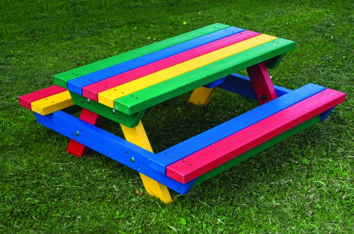 Teeny Tot Recycled Plastic Picnic Bench - Rainbow